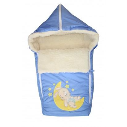 Конверт на овчине в детскую коляску Монис Стиль Зайка на луне