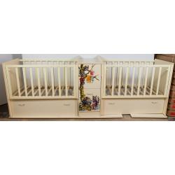 Детская кроватка для новорожденного трансформер для двойни Папа Карло Еноты