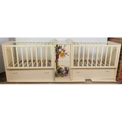 Детская кроватка трансформер для двойни Папа Карло Еноты