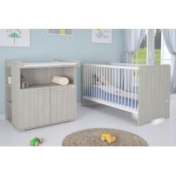 Комната для новорожденного Polini Simple Nordic (вяз), 4 предмета: кроватка трансформер+комод+рамка+полка к комоду