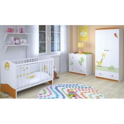 Детская комната для новорождённого Polini Basic Джунгли, 3 предмета: кроватка+комод+шкаф двухсекционный