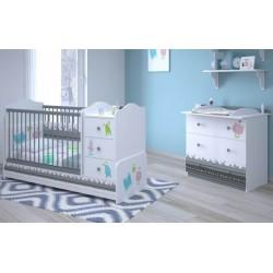 Комната для новорожденного Polini Basic Монстрики, 3 предмета: кроватка-трансформер+комод+рамка