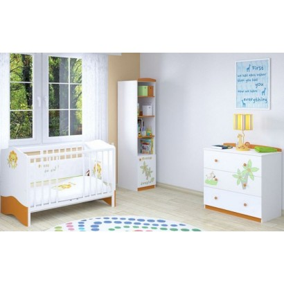 Детская комната для новорождённого Polini Basic Джунгли, 3 предмета: кроватка+комод+стеллаж