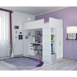 Кровать-чердак Polini Simple с письменным столом и шкафом
