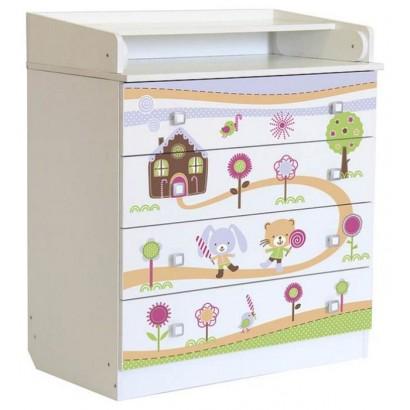 Детский пеленальный комод Polini Simple 1580 Пряничный домик