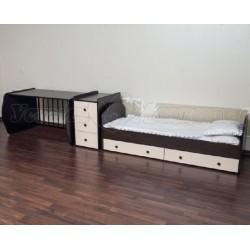 Детская кроватка-трансформер Агат Папа Карло 1/2 поперечный маятник со столом