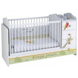 Детская кроватка - трансформер с комодом Polini Basic Джунгли