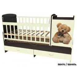 Детская кроватка трансформер поперечный маятник Мишки