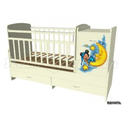 Детская кровать трансформер с поперечным маятником Микки