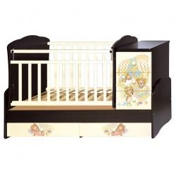 Детская кроватка-трансформер с комодом Антел Ульяна 1 Медвежата (поперечный маятник)
