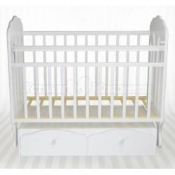 Детская кроватка для новорожденного Агат Папа Карло 2/3 с поперечным маятником и ящиками
