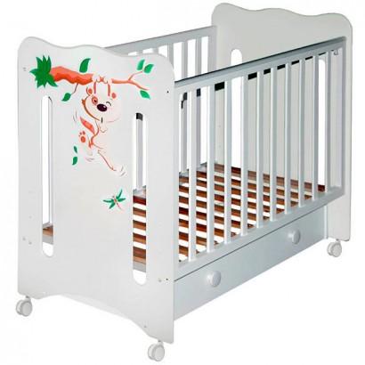 Детская кроватка на колёсах с ящиком Laluca Руслана (Кроха Енот) Можгинский лесокомбинат