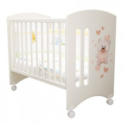 Детская кроватка для новорожденного с колёсиками Laluca Софи (Мишка Тедди) Можгинский лесокомбинат