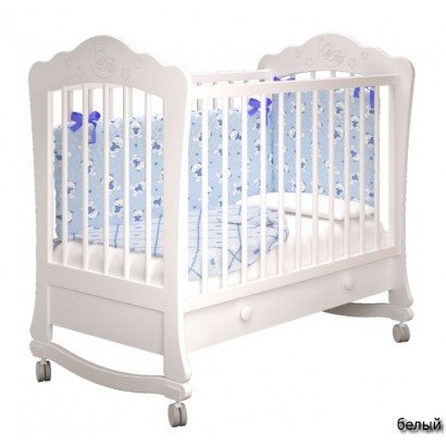 Детская кроватка для новорожденного на колёсах с ящиком Милано Амалия-1 Можгинский лесокомбинат