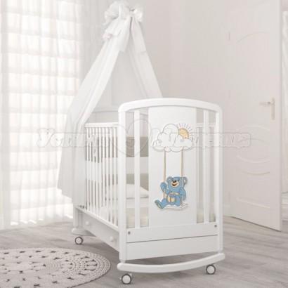 Кроватка для новорожденного Angela Bella Жаклин Мишка на качелях (качалка + колёса + ящик)