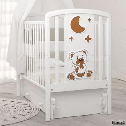 Кроватка для новорожденного Angela Bella Жаклин Мишка с соской (универсальный маятник+ящик)
