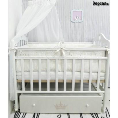 Детская кроватка для новорожденного ByTwinz Версаль поперечный маятник + ящик