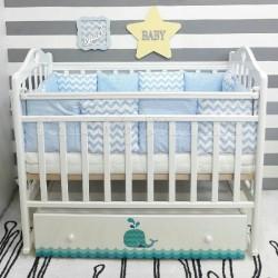 Детская кроватка для новорожденного ByTwinz Маленький Кит поперечный маятник + ящик