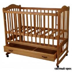 Детская кроватка для новорожденного на колёсиках с качалкой и ящиком Счастливый Малыш Варвара