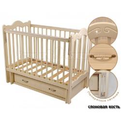 Детская кроватка Счастливый Малыш Дюймовочка со стразами (маятник поперечный, ящик)