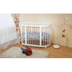 Детская круглая кроватка трансформер для новорожденного на колесах Можга Красная звезда Паулина С328