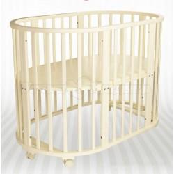 Детская круглая (овальная) кроватка трансформер для новорожденного Агат Папа Карло 1/5
