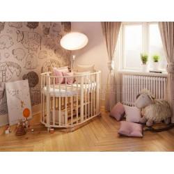 Детская круглая (овальная) кроватка трансформер для новорожденного Агат Папа Карло 1/6 с поперечным маятником