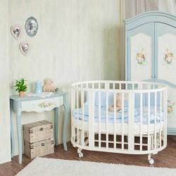 Детская круглая кроватка трансформер 8 в 1 для новорожденного Nuovita Nido Magia с поперечным маятником