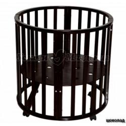 Детская круглая кроватка для новорожденного Антел Северянка 3/1 с колесиками