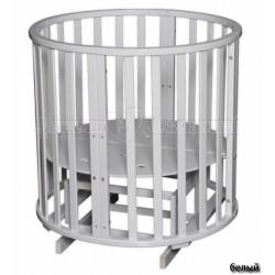 Детская круглая (овальная) кроватка трансформер для новорожденного Антел Северянка 3 с поперечным маятником