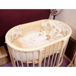 Комплект для овальной кроватки Incanto Совы (6 предметов) бязь