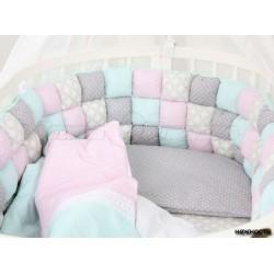 Универсальный комплект в круглую и овальную кроватку ComfortBaby Colorit HappyFamily 7 предметов сатин