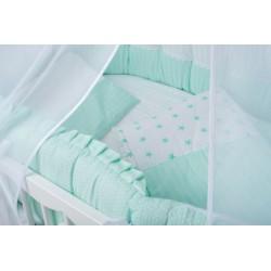 Универсальный авторский комплект ComfortBaby Elite Изумрудный в круглую и овальную кроватку 7 предметов сатин