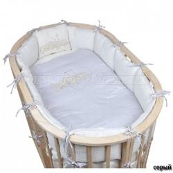 Комплект для овальной кроватки Pituso Звездочка (6 предметов) сатин