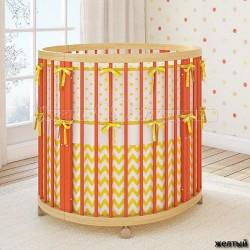 Универсальный комплект в круглую, овальную и приставную кроватку Giovanni By Shapito TreeO Round (6 предметов) сатин