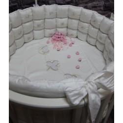 Универсальный комплект для круглой и овальной кроватки Incanto Серебряные листья (7 предметов) сатин