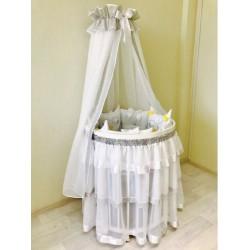 Универсальный комплект для круглой и овальной кроватки Incanto Tini Mini 12 предметов бязь 100% хлопок