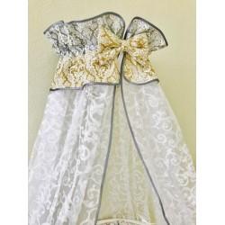Универсальный комплект для круглой и овальной кроватки Incanto Дамаск 11 предметов бязь 100% хлопок