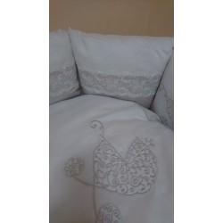 Универсальный комплект для круглой, овальной и прямой кроватки Incanto Колясочка 6 предметов сатин 100% хлопок