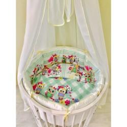 Универсальный комплект для круглой и овальной кроватки Incanto Домисолька 11 предметов бязь 100% хлопок