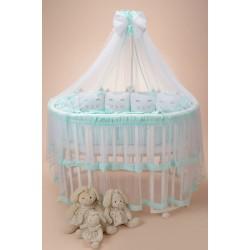 Комплект в круглую (овальную) кроватку Котики с юбкой 10 предметов