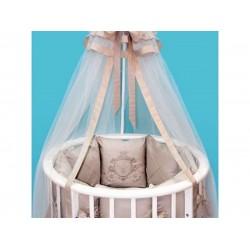 Комплект в круглую (овальную) кроватку сатин КАРЕТА вышивка сатин 7 предметов