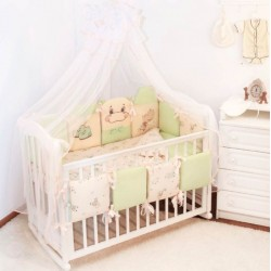 Комплект в кроватку 18 предметов Крошкин дом Бегемотики с подушечками