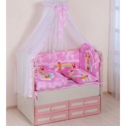 Комплект в кроватку Селена 59.1 Мишки на радуге 6 предметов бязь