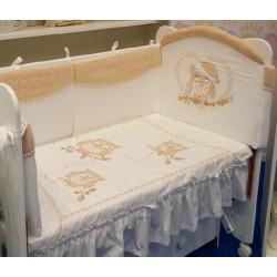 Комплект в кроватку Селена 122 Совята 7 предметов бязь, сатин, велюр