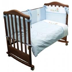 Комплект в кроватку Сонный гномик Паровозик 6 предметов сатин