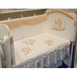 Бампер для детской кроватки Селена 122.11 Совята со съемным чехлом сатин, велюр