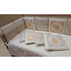 Бампер для детской кроватки Селена 119.11 со съемным чехлом сатин, тик