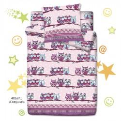Комплект детского 1,5 спального белья Монис стиль Совушки