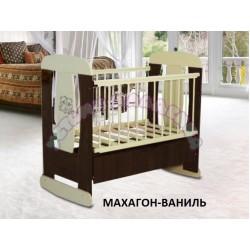 Детская кроватка для новорожденного Алмаз мебель Венеция колёса + качалка + ящик